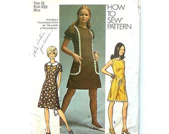 "Vintage 1970 Simplicity Misses' Dress Sewing Pattern #9237 - Size 10 (Bust 32 1/2) - ""How To Sew Pattern and How to Fit a Princess Dress"""