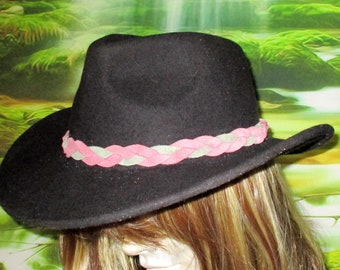 Custom made! MultiColored Braided Leather Hat-Band,  Genuine Cowhide Leather Braided