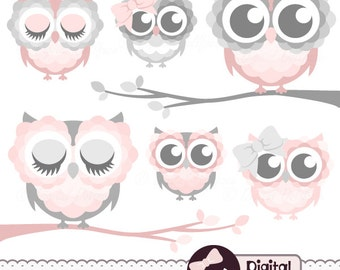 """Pink and Grey """"Owl on Branch"""" Clipart, Cute Owl Clip Art, Baby Shower Graphics"""