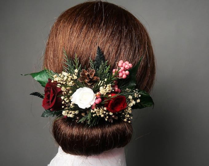 Winter wedding bridal hair comb with pine cones, berries and real preserved roses