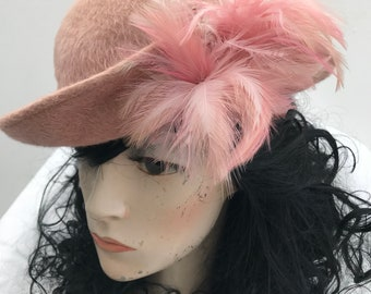 1950s pink felt bowler vintage hat with feathers