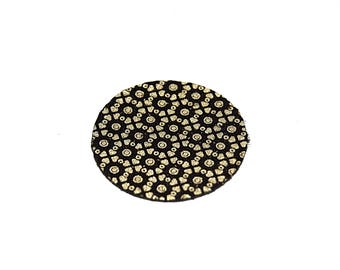 Round leather (lozenge) 15-24-30 mm baroque black and gold 2677 / 2677-1 / 2 2677