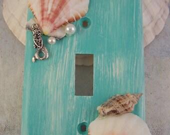 Seashell Mermaid Light Switch Plate Cover, Green Distress Mermaid Switchplates, Mermaid Decor, Bathroom Decor, Bedroom Decor, Home Decor