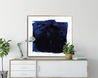 Large Abstract Art, Printable Abstract Art, Abstract Painting, Navy blue art, large wall art, blue and white, original art, 40x40 print