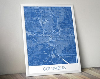 Columbus Map Art Print