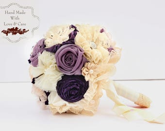 Bridal bouquet, purple wedding bouquet, small bouquet, fabric bouquet, keepsake bouquet, 6'' bouquet, lavender wedding, lace bouquet