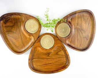 Vintage Walnut Wood Snack Platters Plates by Gladmark Burbank California