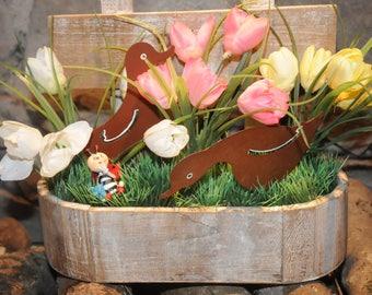 "wood planter, themed ""Awaiting spring"""
