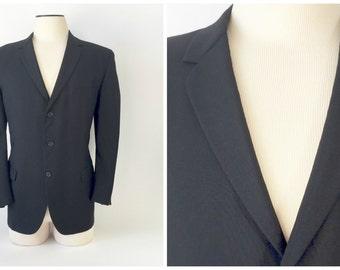 Vintage Tuxedo Jacket / Vintage Tux Jacket / 1950s 60s Tux Jacket / Black Tuxedo / 43 Regular