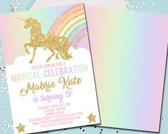 Unicorn Birthday Invitation, Unicorns, Birthday Invitation, Birthday, Invitation, 1st Birthday, Rainbow, Gold, Printable 5x7
