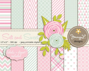 Mother's Day Digital Paper, Valentine's Day, Wedding Paper Flower Clipart, Mother, Pink and Light Blue Green Scrapbooking, Ranunculus Flower