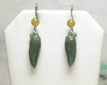 Natural color jade earrings, dangling jade earrings, green jade earrings, silver jade earrings