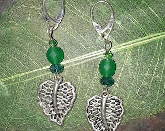 Green Leaf Earrings ~ Leaf Earrings ~ Boho Earrings ~ Bohemian Earrings ~ Fairy Earrings ~ Druid earrings ~ Swarovski