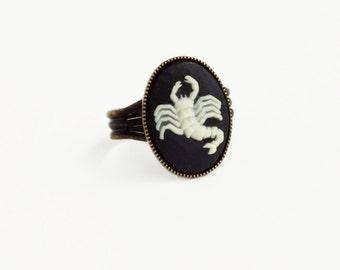 Scorpio Cameo Ring Victorian Zodiac Astrology Scorpion Ring Vintage Black Cameo Jewelry Adjustable Victorian Ring