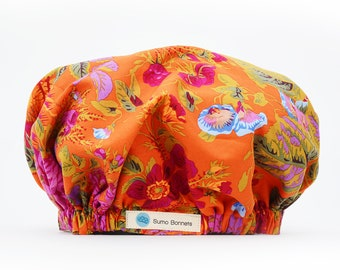 Orange/ Pink Floral Print Luxury Satin Lined Sleep Cap