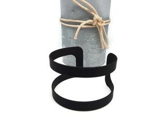 Matte black adjustable cuff bracelet