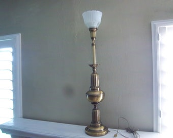 Brushed Brass Torchiere Table Lamp W/Shade