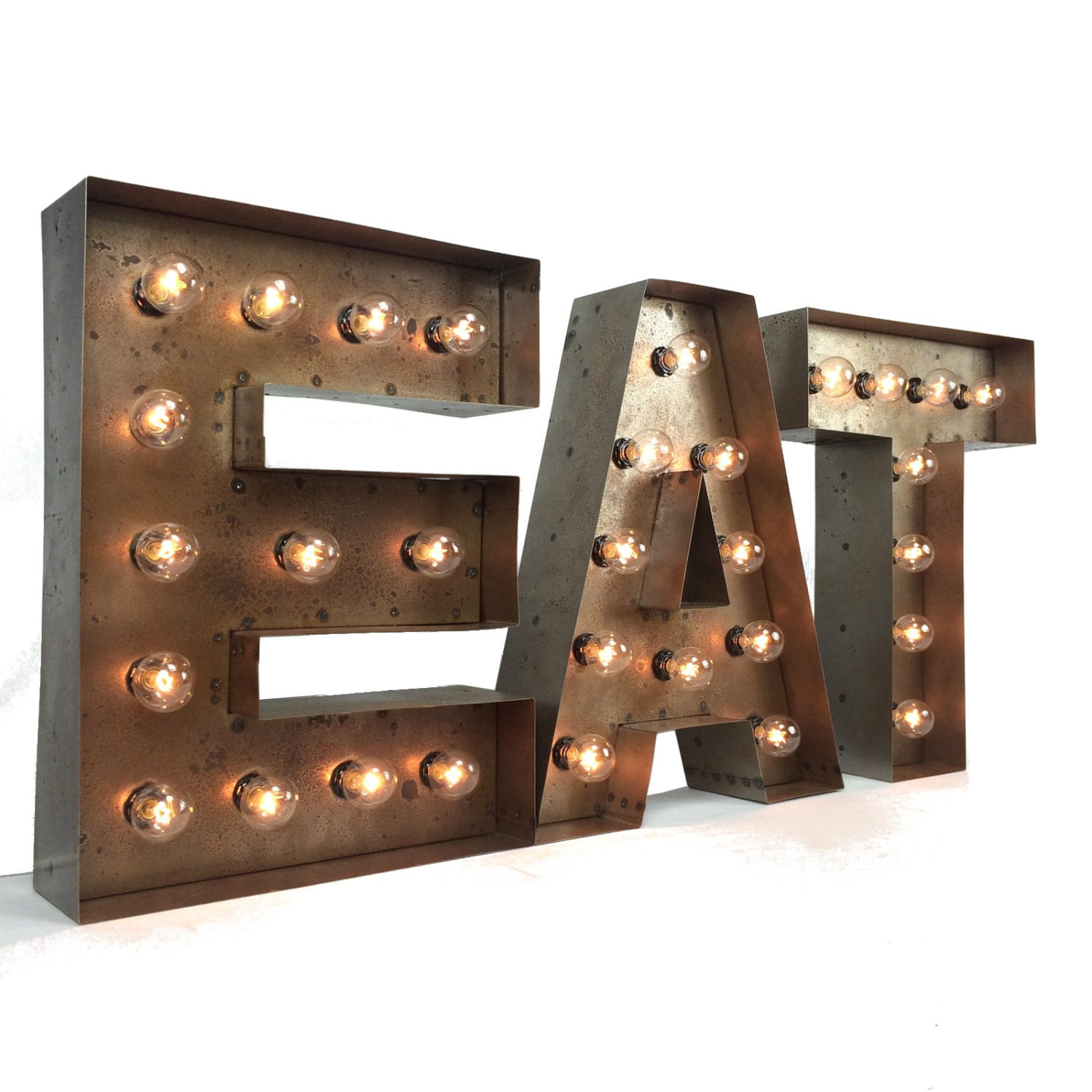Metal Sign Letters For Sale Interesting Marquee Eat Sign 18Custom Steel Eat Sign Light Up Design Inspiration