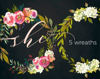 Watercolor Floral Wreaths Clipart Digital Flowers Pink Peach Peonies PNG Wreaths Clip art Set DIY Wedding Invitation Frames Hand Painted
