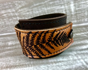 Leather Cuff Wrap Bracelet, Fern Print Sienna Brown, Adjustable Size * SALE * Coupon Codes