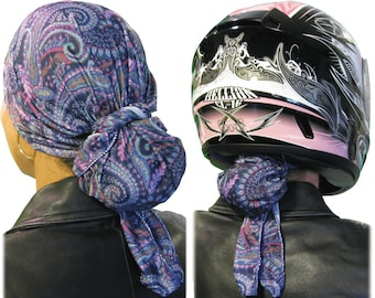 Boho Purple Cool/Dry Women's Helmet Liner/Do-Rag. Stop Helmet Hair! No More Tangles/No More Knots. Just Beautiful Hair at Your Next Stop!