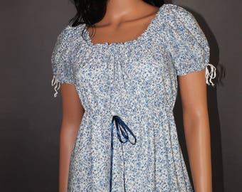 Calico Regency Dress, Blue and White Dress, Pride Prejudice Jane Austen Gown, Cotton Empire Waist Dress ~ SHIPS NOW