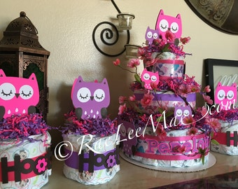 Owl Package 1 Three Tier Diaper Cake & 5 Diaper Cake Minis  / Baby Shower or Birthday