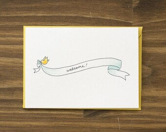 bird and ribbon banner welcome baby aqua card
