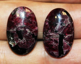 Crystallic Eudialyte, Top quality Handmade Russian Eudialyte, natural stone, Designer Eudialyte, Rare gemstone, cabochon  24 x 15 mm, Pair