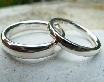 Silver wedding ring set, comfort fit wedding band set
