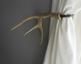 Antler Curtain Tie Back Holdback Cabin Decor Primitive Natural Rustic Woodland Size Large