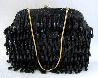Cha Cha Black Beaded Purse Evening Bag Formal Jet Glass Bead Sequin Clutch Fringe Gold Frame Vintage Handbag Handmade Hong Kong Tulip Flower
