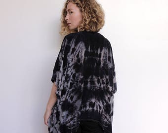 Hand Dyed Kimono Shawl / Boho Shawl  / Oversized / Cardigan / Wrap / Navy / Blue / Grey /