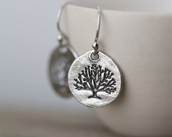 Rustic Tree of Life Earrings | Family Tree Handmade Sterling Silver Jewelry Earrings | Jewelry Handmade Gift for Women | By Burnish