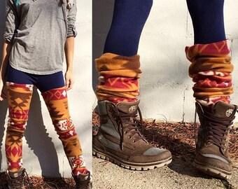 18 Colors Fleece Leg Warmers   Long Warm Luscious Natural Fitting Stretchy - Various Designs, Sizes, Aztec, Prints, Rib, Long, Thigh High