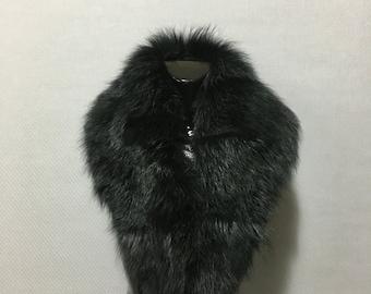 Elegant Dark Green  Fox Fur Collar