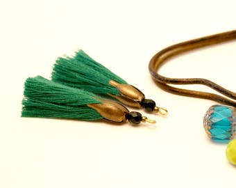 2 PomPoms green 45 mm, tassel handmade, black bead, Tassel