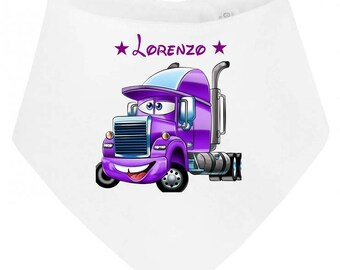 Truck personalized with name baby bandana bib
