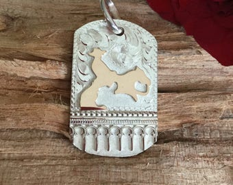 Pendent- Dog Tag/Tommy Houston/ cutting horse/ sterling silver/ Artisan Handmade/ Equestrian Jewelry/ Horse Jewelry