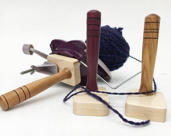 Yarn Ball Winder Handle, Maple Wood Base, hand turned, center pull ball, custom designed, skein, wind from spinning wheel or swift