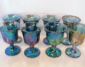 8 Blue Carnival Wine Goblets by Indiana Glass Co 1970's