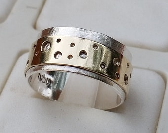Wedding Band ,Silver And Gold Wedding Band,Handmade Wedding Band ,Gold Wedding Ring ,Bridal Wedding Ring ,Statement Ring ,Mother's Day Gift