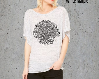 Bohemian Clothing, Womens TREE Of LIFE Shirt Slouchy T Shirt Top, Women Graphic Tee, Best Friend Gift For Her, Womens Shirts, Yoga Shirt,