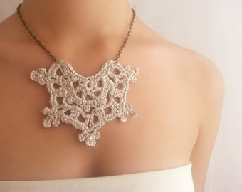 Silver lace necklace Rustic wedding Crochet necklace Pearl choker