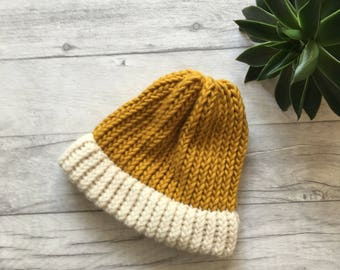 Mustard knit beanie hat gifts for men chunky knit hat mothers day gift for him girlfriend gift merino wool hat gift for dad dad hats mens