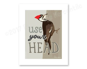 Pileated Woodpecker art print, 8x10""