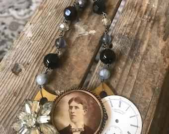 Remembering a True Scholar Vintage Assemblage Mourning Pin Watch Face Rhinestone Necklace