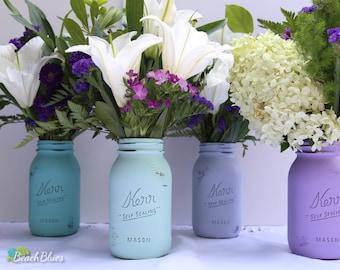 Mother's Day / Gift for her / spring decor / pastel painted mason jars / blue purple aqua / home decor / centerpiece / vase / jar / Set of 4