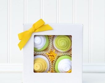 Pregnant Mom Mother's Day Gift Idea Neutral Baby Washcloth Cupcake Set