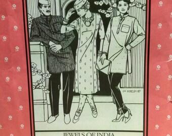 Vintage Folkware Pattern #135 Kurtz, Kamik, Churidar, Ghandi Hat Jewels of India Clothing#A433